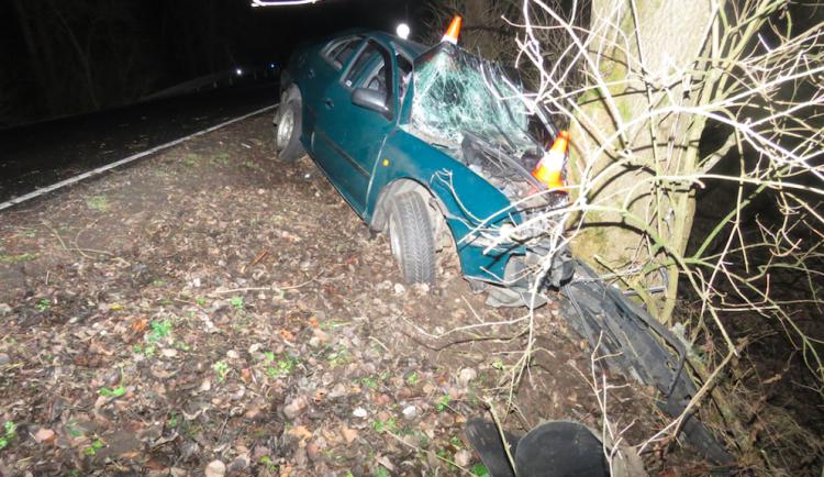 Řidič dostal na namrzlé silnici smyk a čelně narazil do stromu, dva lidé byli letecky transportováni do nemocnice