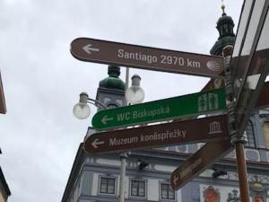 Budějovice jsou na trase Svatojakubské cesty. Poutníci to mají ke katedrále v Santiagu 2970 kilometrů