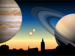 Konjukce Jupiteru se Saturnem a soutěž astronomických rozměrů