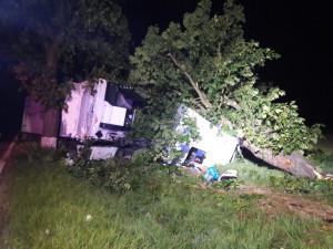 Řidič přerazil kamionem strom u silnice, sám utrpěl středně těžká poranění