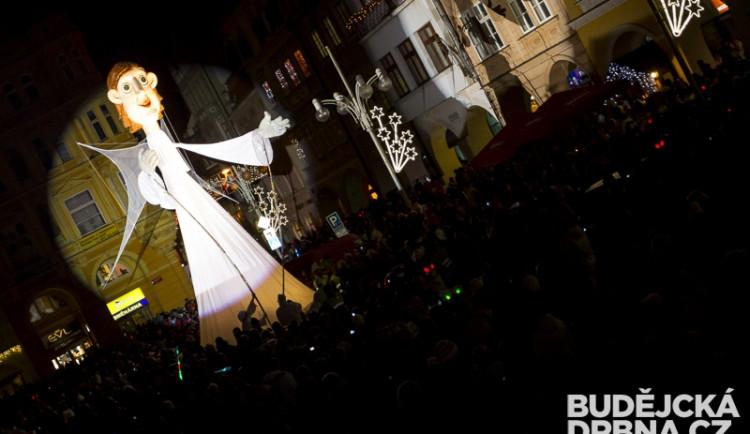 Přílet anděla na českobudějovické náměstí Přemysla Otakara II.
